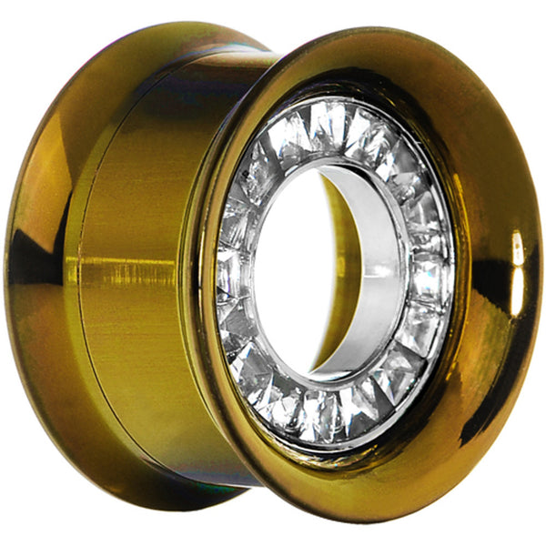 "1/2"" Golden Titanium Single Row CZ Screw Fit Tunnel"