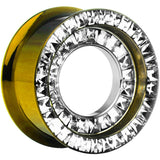 "1/2"" Golden Titanium Double Row CZ Screw Fit Tunnel"