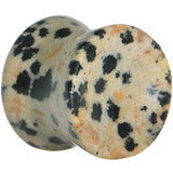 1/2  Natural Stone Dalmatian Jasper Saddle Plug