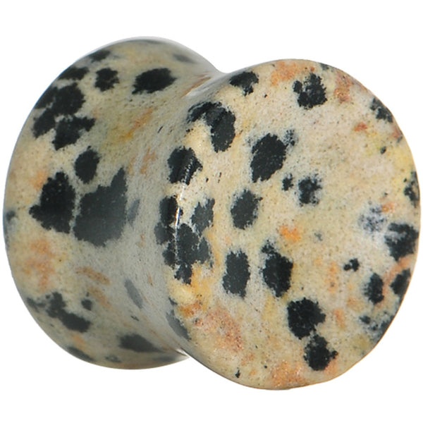 "1/2""  Natural Stone Dalmatian Jasper Saddle Plug"
