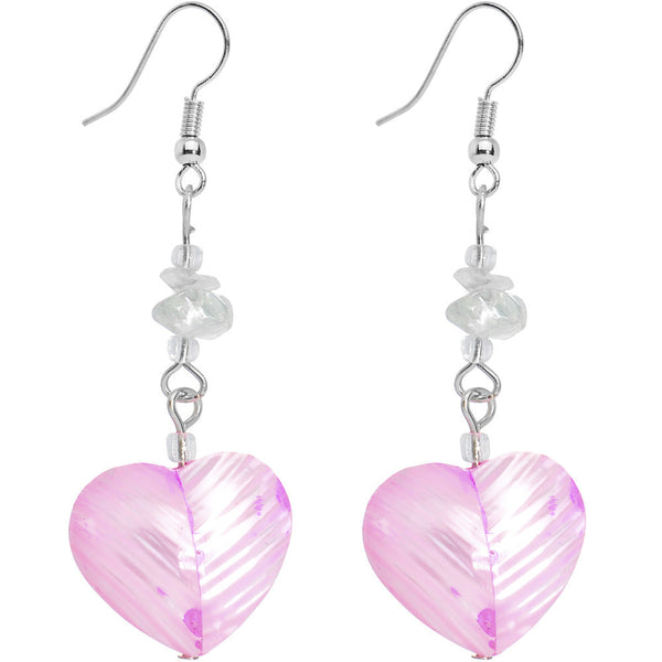 Pink Passion Heart Dangle Earrings