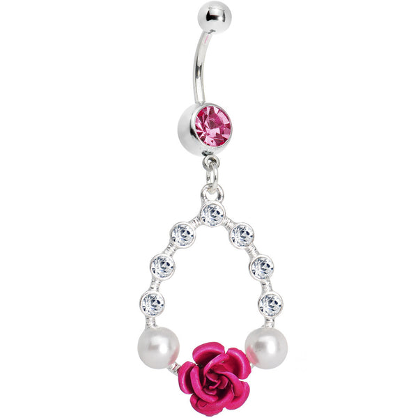 Pink Rose Crystal Teardrop Belly Ring