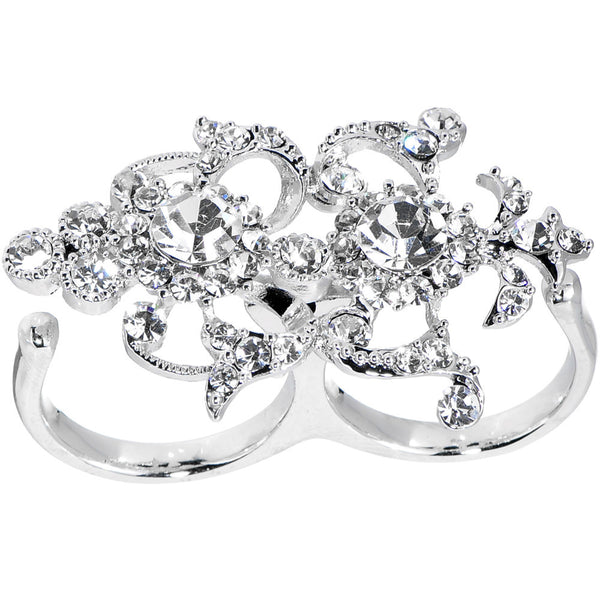 Crystalline Ornate Double Finger Ring
