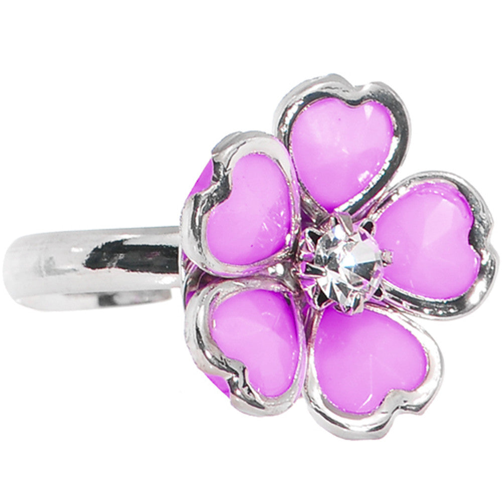 Light Purple Enamel Five Petal Blooming Flower Adjustable Ring