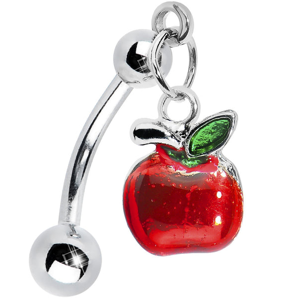 Top Down Red Apple Dangle Belly Ring