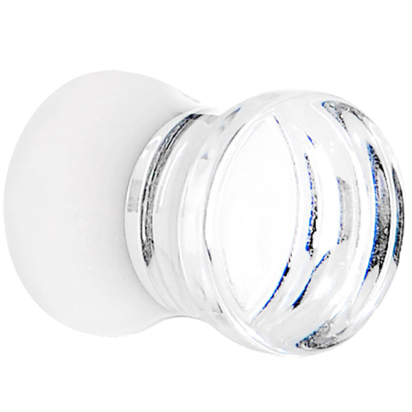 2 Gauge Clear White Acrylic Mirror Split Saddle Plug