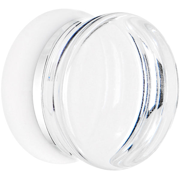 9/16 Clear White Acrylic Mirror Split Saddle Plug