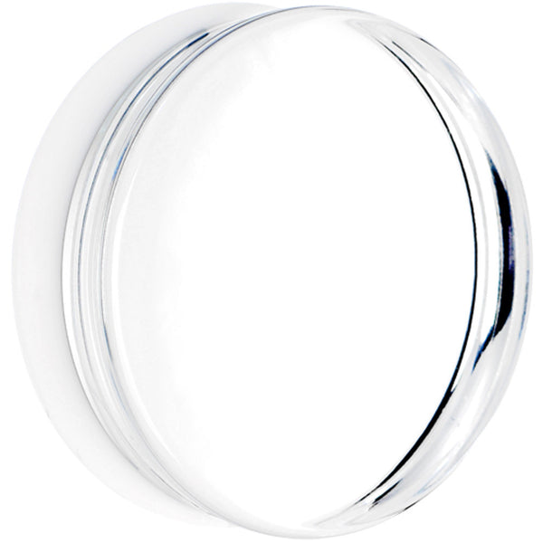 2 Clear White Acrylic Mirror Split Saddle Plug