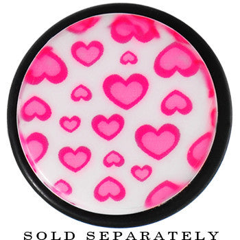 18mm White Acrylic Pink Heart Logo Taper