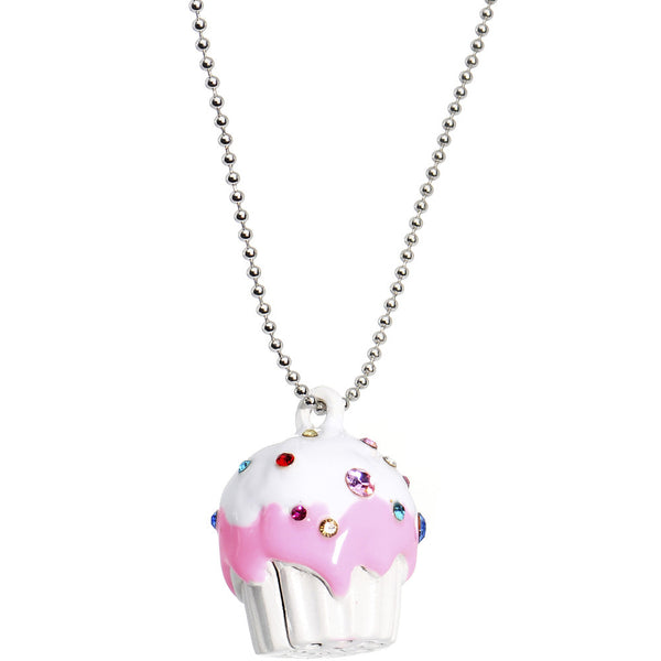 White Frosting Gem Cupcake Necklace