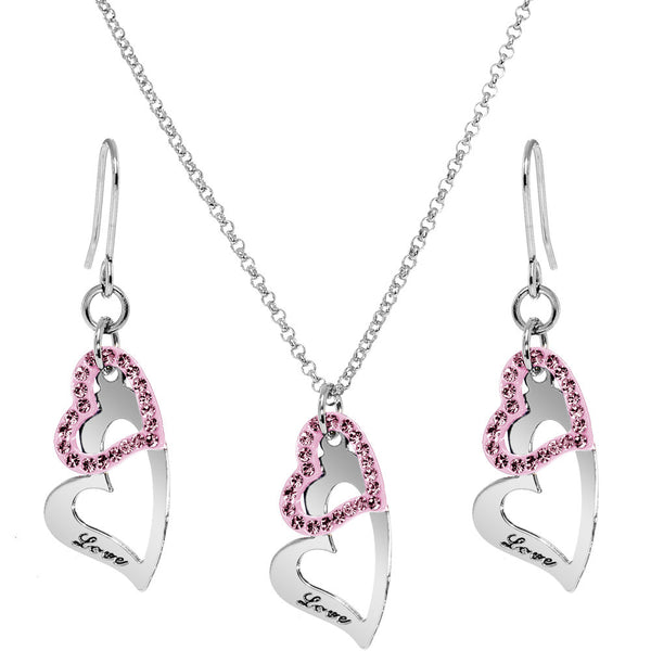 Pink Duo Floating Love Inscribed Heart Necklace and Earring Set