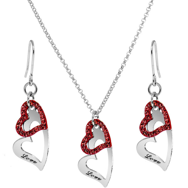 Red Duo Floating Love Inscribed Heart Necklace and Earring Set