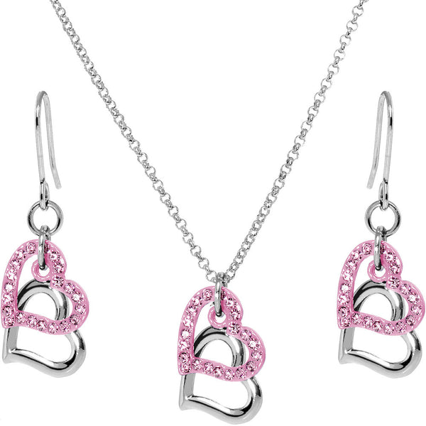 Pink Duo Floating Heart Necklace and Earring Set