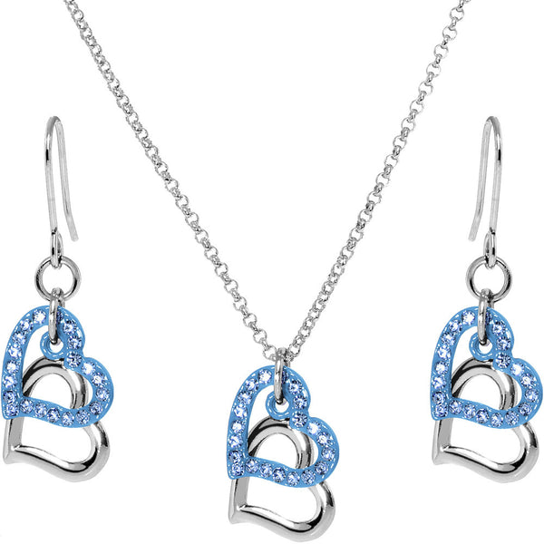 Blue Duo Floating Heart Necklace and Earring Set