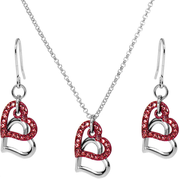 Red Duo Floating Heart Necklace and Earring Set