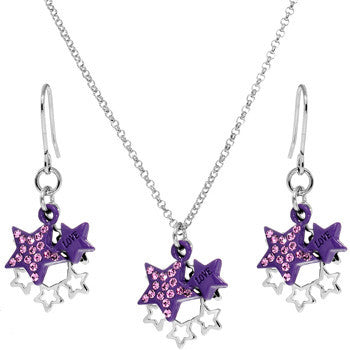 Purple Celestial Love Star Dangle Necklace and Earring Set