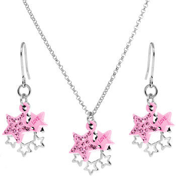 Pink Celestial Love Star Dangle Necklace and Earring Set