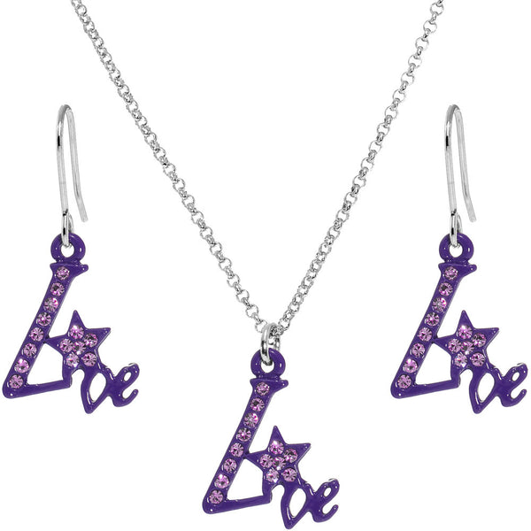 Purple Star Live Dangle Necklace and Earring Set