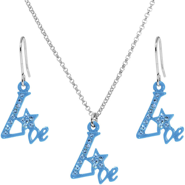 Blue Star Live Dangle Necklace and Earring Set