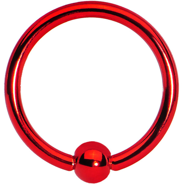 16 Gauge Red Titanium Captive Ring 3/8 3mm