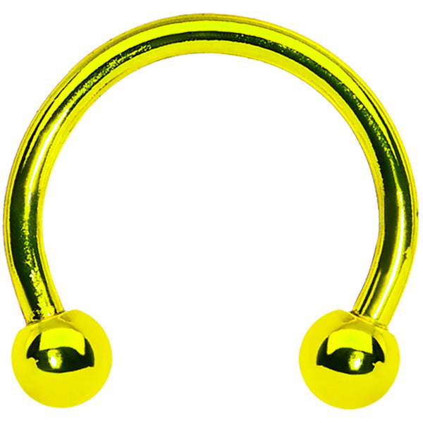 16 Gauge Yellow Titanium Horseshoe Circular Barbell 3/8