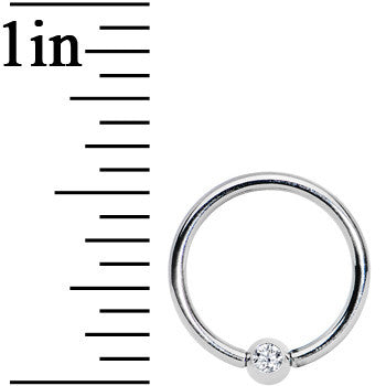 16 Gauge 3/8 Clear Crystal BCR Captive Ring