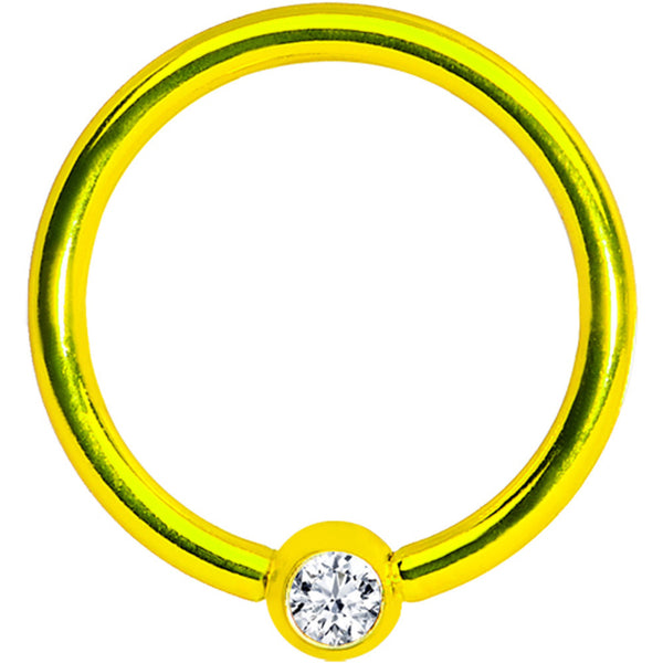 16 Gauge 3/8 Clear Crystal Yellow Titanium BCR Captive Ring