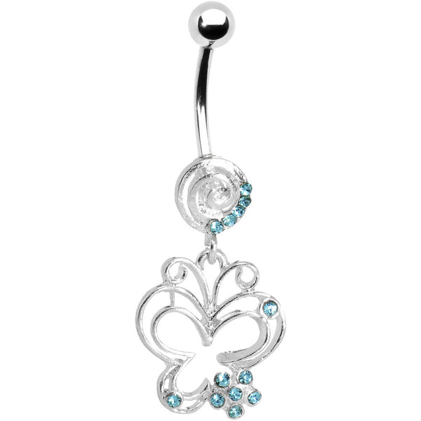 Aqua Gem Flower Butterfly Swirl Dangle Belly Ring