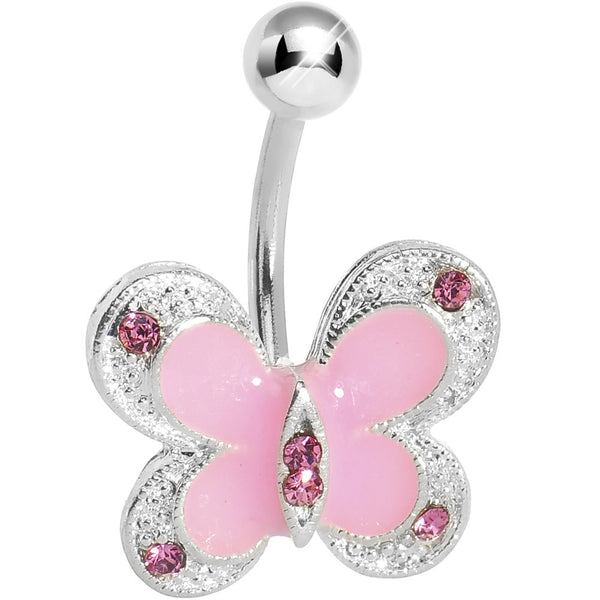 Pink Enamel Gem Classic Butterfly Belly Ring