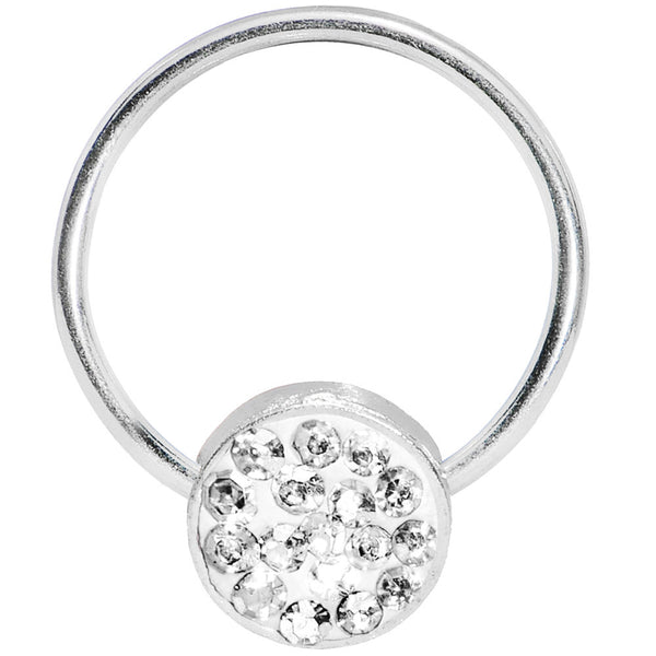 16 Gauge 5/8 Clear Gem Circle Crystal Ice Captive Ring