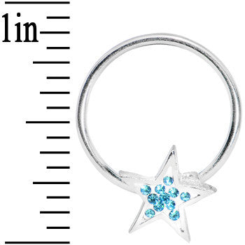 16 Gauge 5/8 Aqua Gem Star Crystal Ice Captive Ring