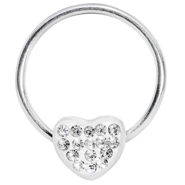16 Gauge 5/8 Clear Gem Heart Crystal Ice Captive Ring