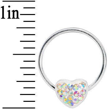 16 Gauge 5/8 Aurora Gem Heart Crystal Ice Captive Ring