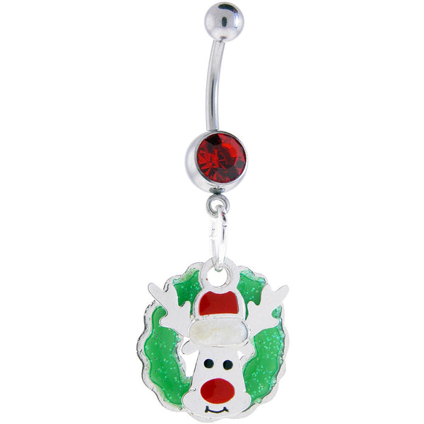 Seasonal Holiday REINDEER and WREATH Dangle Belly Ring