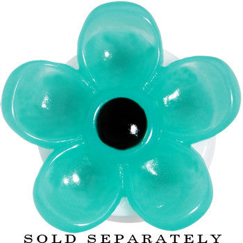 20mm Acrylic Aqua Flower Saddle Plug
