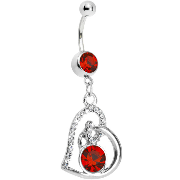 Red Gem Heart Loop Solitaire Belly Ring