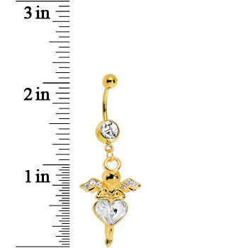 Gold Plated Crystalline Gem Heart of an Angel Belly Ring