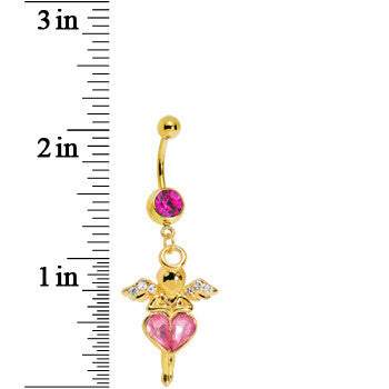 Gold Plated Pink Gem Heart of an Angel Belly Ring