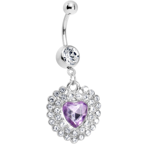 Crystalline Gem Violet Princess Heart Belly Ring