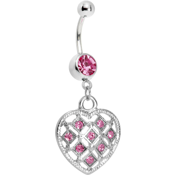 Pink Gem Checkered Princess Heart Belly Ring