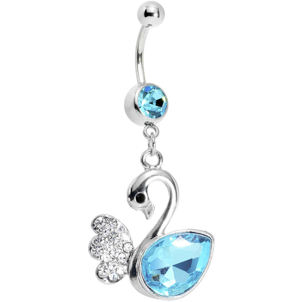 Aqua Gem Swan Dangle Belly Ring