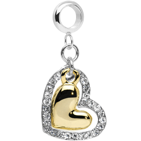 Add On Two Tone Double Heart Belly Ring Charm