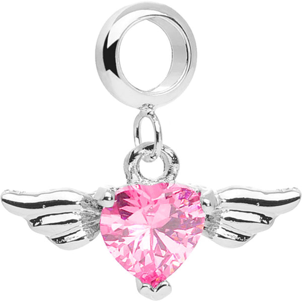 Add On Pink Gem Winged Heart Belly Ring Charm