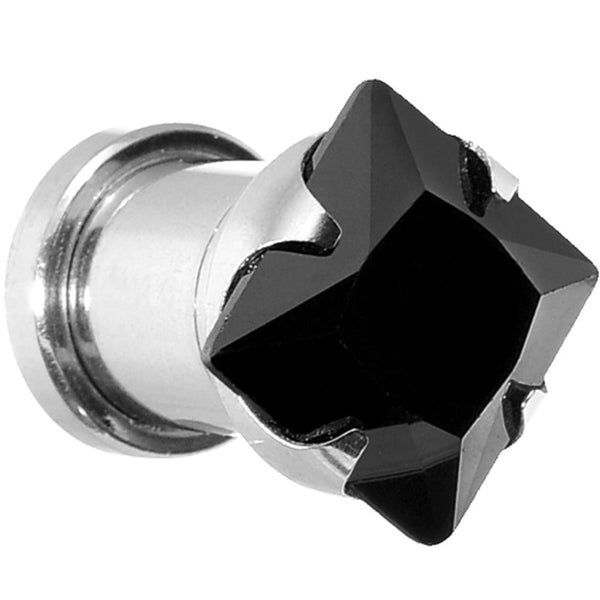 0 Gauge Stainless Steel Black Square CZ Screw Fit Tunnel