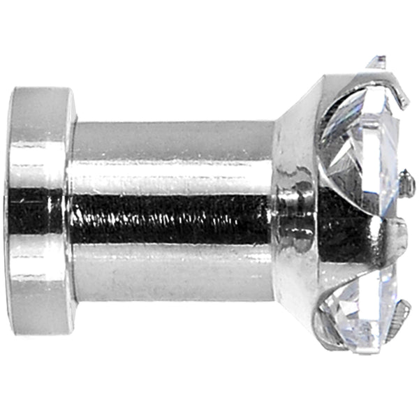 4 Gauge Stainless Steel Clear Square CZ Screw Fit Tunnel