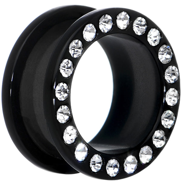 18mm Black Acrylic with Clear Jeweled Flesh Tunnel