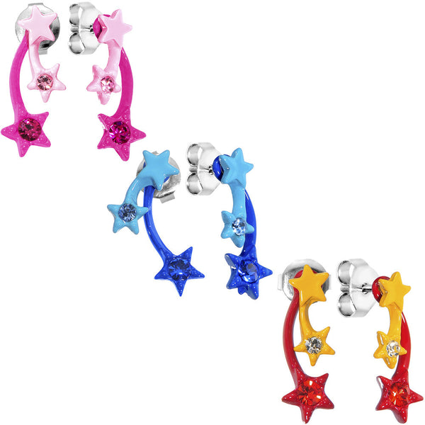 Fireworks Shooting Star Trio Stud Earring Set