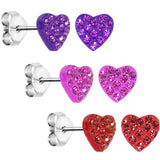 Sparkle Gem Hearts Stud Earrings Set