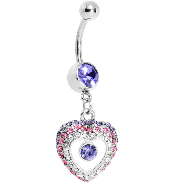 Violet Gem Ombre Paved Hollow Heart Belly Ring