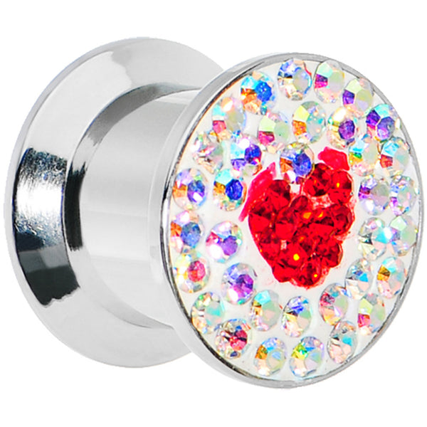 00 Gauge Stainless Steel Aurora Gem Red Heart Screw Fit Plug